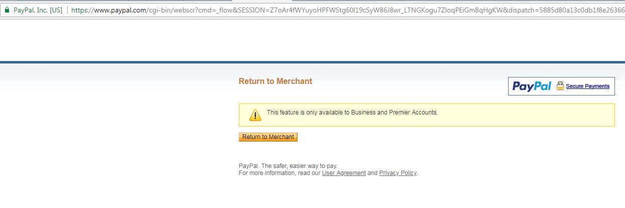 PayPal Error on webpage
